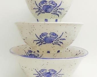 Coastal Serving Round Bowl Set. Anchor. Wheel.  Compass. Salad. Pasta. Housewarming Gift. Wedding Gift. Bowl. Handmade by Sara Hunter