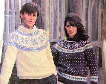 Knitted Fair Isle Pullover Sweaters for Men & Women 3 Booklets Crafts