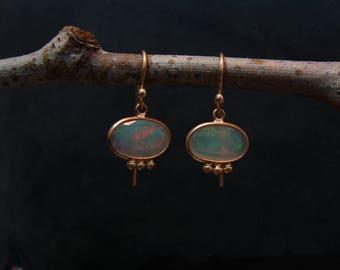 Opal slice earrings 14kt gold