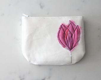 Leather Coin Purse - White Pearl &  Hot Pink