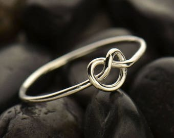 Sterling silver knot ring - Infinity jewelry - Knot ring - Knot jewelry - Dainty ring - Simple jewelry - Sterling stacker ring - Mimimalist