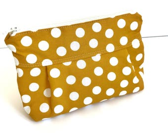 Makeup Bag No. 1 in Yellow Dots with Wipeable Lining