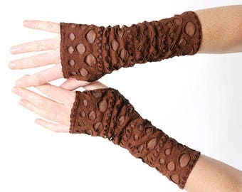 Brown arm warmers, Brown apocalyptic fingerless gloves, Jersey fingerless gloves, Brown wrist warmers with holes, MALAM