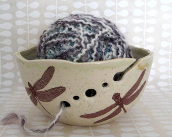 Knitting Bowl - Yarn Bowl -  Dragonfly - Hand Thrown Ceramic Stoneware Pottery - Ready to Ship