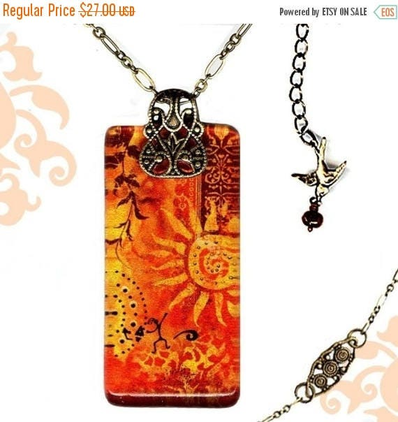 Tuscan Sun - Reversible Glass Art Necklace - Voyageur SHIMMERZ- Etruscan Collection