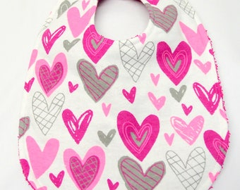 Baby Girl Bib, Baby Shower Gift, Welcome Baby Gift. New Mom Gift: Funky Pink, Magenta and Gray Hearts on White