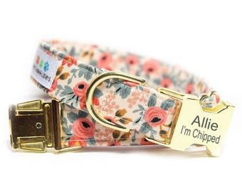 Floral Dog Collar, Les Fleurs Rosa Flora Peach