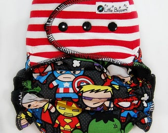 Custom Cloth Diaper or Cover -  Combo Print Stripes and Superheroes (Knit) - Kawaii Diaper Nappy or Wrap - AI2, Hybrid, Fitted, Cover