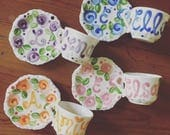 Tea Party Favors // Personalized Tea Cups Handpainted.. . . Happy Colorful Flowers . . Lovely for tea parties and showers. . .