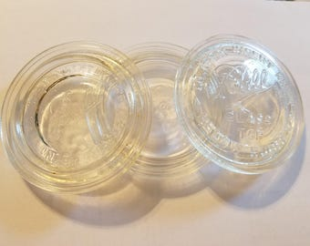 three different ball mason jar inserts,vintage mason jar lids,glass lids,wide mouth mason jar,fruit jar lids,glass inserts,ball special jars