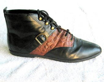 Color Block/ Leather Ankle Boots/ 80s  Brown/ Black Granny /Lace Up  Ankle Boots/ Buckle Detail Sz 9.5 EU 40 UK 7.5