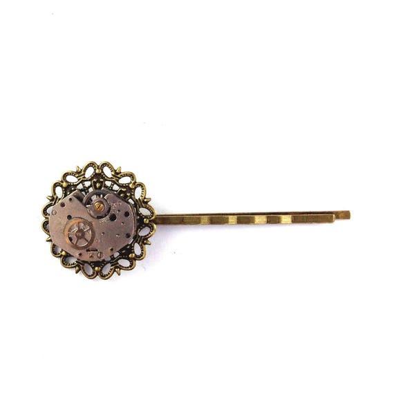 CLOSING DOWN SALE Steampunk vintage watch part Movement bobby Pin hair clip