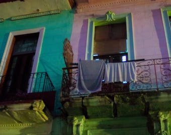 Cuban doors photograph street scene turquoise purple lime green balcony with laundry Havana Cuba wall decor original art travel photography