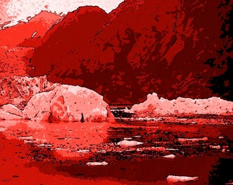 Alaska In Red   Ice  Canvas Wall art Pop Art Gallery wrap
