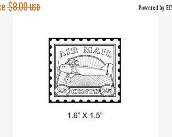 Xmas in July Airplane Postage Stamp  Air Mail Faux Postage Mail Art Rubber Stamp 294