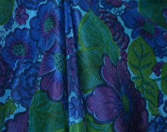 VINTAGE 70s Thai SILK Fabric pure silk Handwoven floral dark PEACOCK blue purple green gorgeous