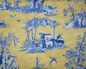 TOILE de Jouy cotton fabric French style peasants countryside toile cotton quilting apparel fabric yellow blue