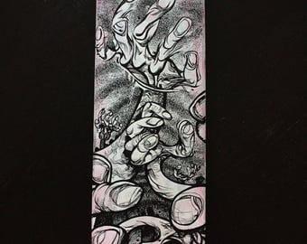 Reach original drawing on a skateboard deck