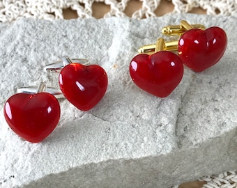 Red Glass Heart Cufflinks - Rich Cloudy Red Glass - Choice of Silver Or Gold T-Bar Fittings - Gift Boxed -Gift for Lovers Valentine Wedding