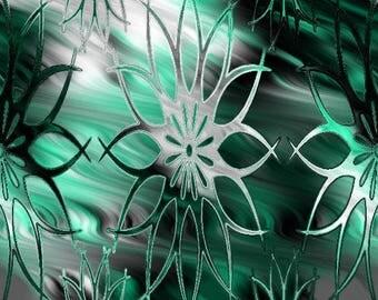 Green Flower Sateen Cotton Artisan Made Fabric Home Decor Drapery Pillows