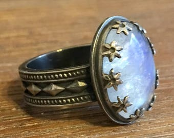 Sterling Silver and Rainbow Moonstone Ring