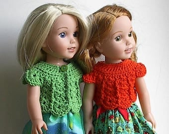 14.5 Inch Doll Clothes Crocheted Sweater Top Handmade to fit the Wellie Wishers and other similar dolls - Bright Green or Orange Sweater