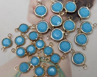 Vintage Channel Set Turquoise Glass Connector Links