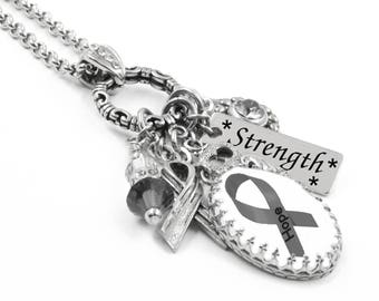 Brain Cancer Awareness, Charm Necklace, Brain Cancer Jewelry, Personalized Brain Cancer Jewelry, Gray Awareness Ribbon