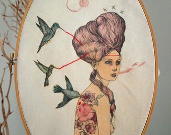 Marie Adrienne, an embroidered drawing