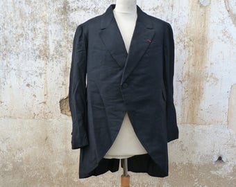 Vintage Antique 1900s French men tuxedo tail /rounded at the front / Charlot redingote /Black wool size L