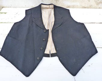 Vintage Antique 1900/1930  men VEST black wool lined with striped sateen  size S