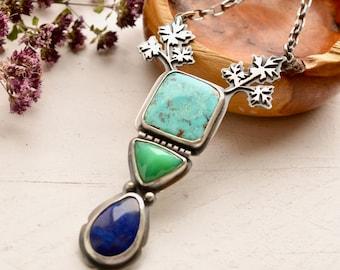 Royston Turquoise Necklace, Chrysoprase Necklace, Botanical Silver Necklace, Lapis Lazuli Pendant, Artisan Jewelry, One of a Kind