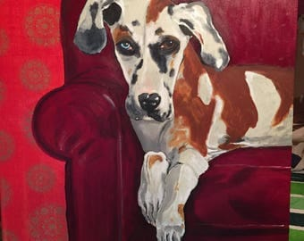 Great Dane Puppy on Red Chair Painting Paper Collage