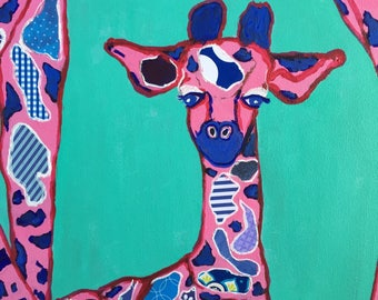 Baby Giraffe Under Its Mama Original Collage Painting