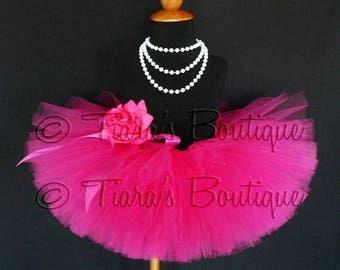 "SUMMER SALE 20% OFF Pink Tutu - Sewn Tutu - Hot Pink Tutu - Ready to Ship - Fabulous Fuchsia - 6"" Girls Tutu - sizes Newborn to 12 months"