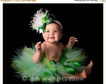 "SUMMER SALE 20% OFF Green Girls Tutu - St Patricks Tutu Set - Birthday Tutu - Ireland Dreams - Sewn 11"" Pixie Tutu w/ Shamrock - sizes Newbo"
