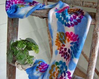Single Knit Sock Blank - Psychedelic Blue Flower