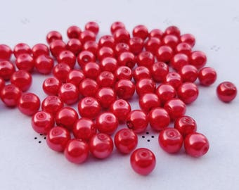 Red 6mm faux pearls (60 beads)