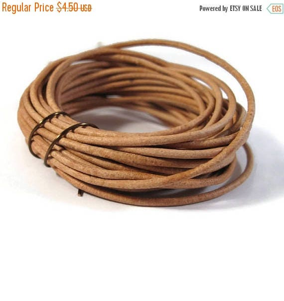 Memorial Day SALE - 4.5 Yards of Natural Tan Leather Cord, 2mm Round Cord For Jewelry, Craft Supplies (F-11b)