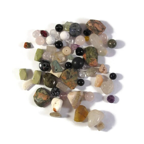 Gemstone Bead Mix,Pink, White, Green Gemstone Grab Bag, 55 Beads for Making Jewelry, Assorted Shapes and Sizes (L-Mix8c)