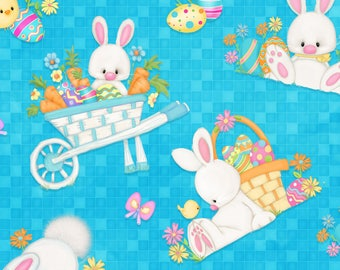 Hop to It by Henry Glass Fabrics, Tossed Bunny Scenes, yard