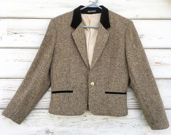 Vintage 80s tweed jacket,velour,english,Louis London,short,fall,wool,designer,stylish,casual,cropped,county chic,city,night,warm,office,wool