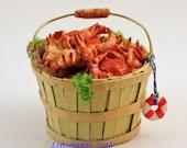 12th scale handmade dollhouse miniature Bushel Basket of Steamed Crabs