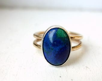 Blue Green Lapis Ring in Sterling and 14k Gold-Filled Band