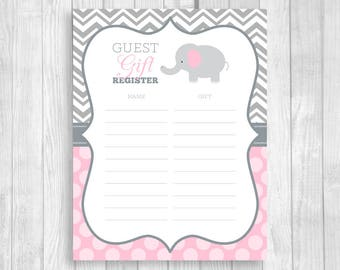 Guest Gift Registry 8.5x11 Printable Elephant Baby Shower Mom-to-Be Gift Sheet in Gray Chevron and Light Pink Polka Dots Instant Download