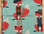 Aqua Hipster Foxes Reversible Cloth Lunch Napkin Set