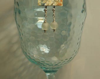 Frosty, translucent white vintage African trade beads, Bali sterling silver beads and sterling silver lever back pierced earrings