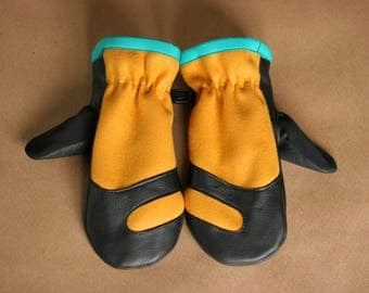 Wool and Leather Mitten | Trail Mitt | Mustard Wool Melton and Black Deerskin Leather