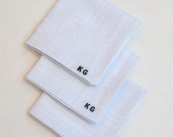 ON SALE Monogrammed mens hankie sets, pocket square set, groomsmans gifts, fathers gift, mens handkerchief