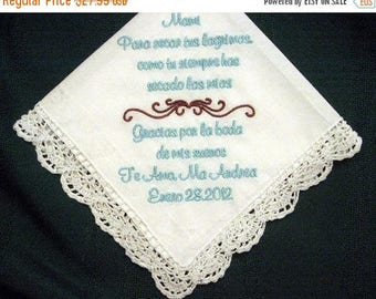 ON SALE Mother of Bride in Spanish 120S Personalized Wedding Handkerchief